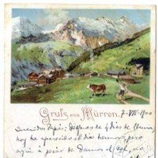 Postales: GRUSS AUS MÜRREN. CIRCULADA 7/7/1900, FRANQUEO FILATÉLICO (VER REVERSO) CARTOFILIA. Lote 28386528