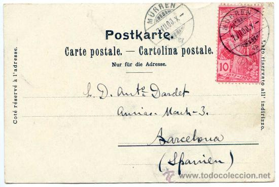 Postales: Gruss aus Mürren. Circulada 7/7/1900, franqueo filatélico (ver reverso) cartofilia - Foto 2 - 28386528