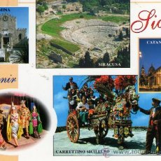Postales: SOUVENIR SICILIA NUEVA SIN CIRCULAR POSTAL MÁS GRANDE DE LO NORMAL. Lote 28407920