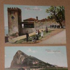 Postales: GIBRALTAR.- ENTRANCE TO MOORISH CASTLE./ROCK FROM SPANISH LINES.(DOS TARJETAS POSTALES). Lote 28631863