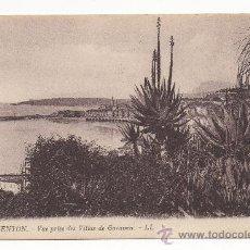 Postales: MENTON.- VUE PRISE DES VILLAS DE GARAVAN.. Lote 29183674