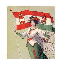 Postales: TARJETA POSTAL DE 1906, MUJER DE ÉPOCA CON LA BANDERA DE AUSTRIA Y ESCUDO. Lote 30157031