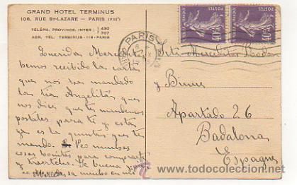 Postales: PARIS. GRAND HOTEL TERMINUS. RUE ST.LAZARE. - Foto 2 - 30270337