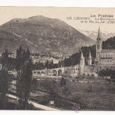 Postales: LES PYRÉNÉES.- LOURDES.- LA BASILIQUE VUE DE CÔTÉ ET LE PIC DU JER (1000 M.). Lote 31187999