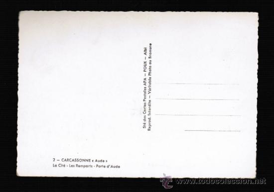Postales: POSTAL DE FRANCIA - CARCASSONNE - LES REMPARTS - PORTE DE L'AUDE - Foto 2 - 31864997