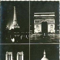 Postales: 7-FRA591. POSTAL FRANCIA. PARIS. VARIAS VISTAS DE NOCHE. Lote 32041661