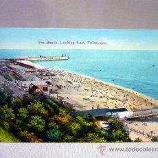 Postales: POSTAL, TARJETA POSTAL, THE BEACH, LOOKING EAST, FOLKESTONE, PLAYA. Lote 33400494
