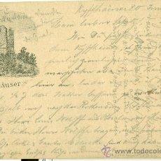 Postales: KYFFHÄUSER. TURINGIA. TIPO GRUSS. CIRCULADA EN 1882.. Lote 33534878