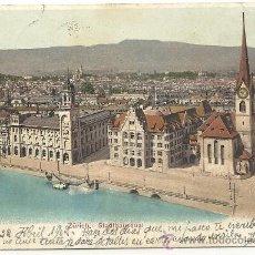 Postales: SUIZA, ZURICH-STADTHAUSQUAI,CARTE POSTALE, HISTORIA POSTAL CIRCULADA 1902. Lote 35365155