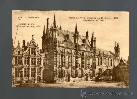 BRUJAS HOTEL DE VILLE CHAPELLE ST SANG PROCESSION - BRUGES BELGICA - EDICIÓN VERMAUT REYNS - POSTAL (Postales - Postales Extranjero - Europa)
