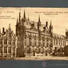Postales: BRUJAS HOTEL DE VILLE CHAPELLE ST SANG PROCESSION - BRUGES BELGICA - EDICIÓN VERMAUT REYNS - POSTAL. Lote 35610075