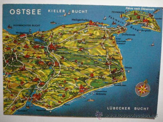 alemania ostsee mapa sin circular mira otras similares germany deutschland postales postales