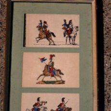 Postales: 3 ANTIGUAS POSTALES FRANCESAS DE CABALLERIA, ENMARCADAS.. Lote 36865074