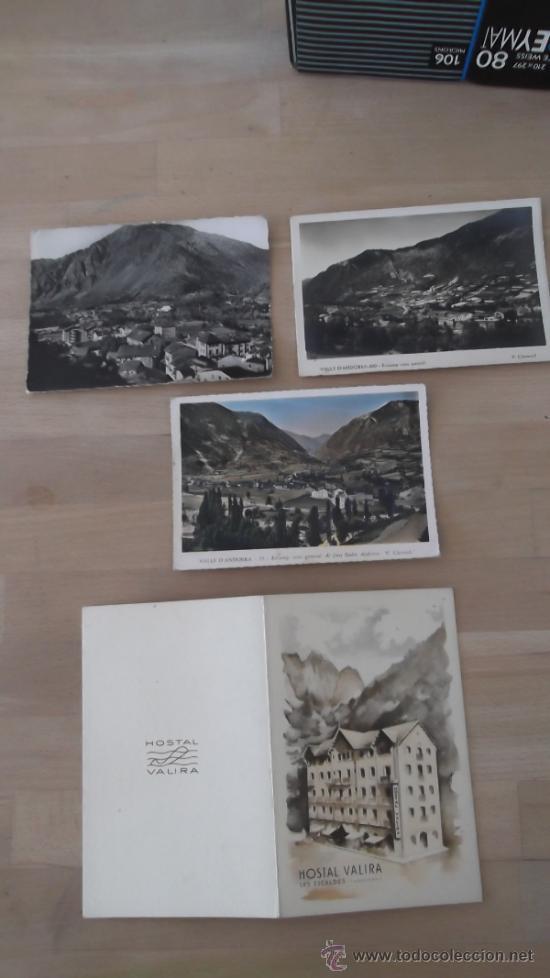 V. CLAVEROL TRES POSTALES ANDORRA AÑOS 40 50 MÁS CARTA DE HOSTAL VALIRA (Postales - Postales Extranjero - Europa)