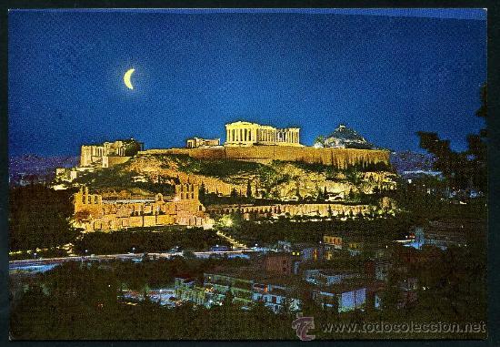 POSTAL DE GRECIA ( LA ACROPOLIS ILUMINADA ) (Postales - Postales Extranjero - Europa)
