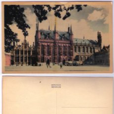 Postales: POSTAL BELGICA - BRUGES, LA JUSTICE DE PAIX, ET BASILIQUE. DU ST SANG - ANTIGUA - SIN CIRCULAR. Lote 36896006