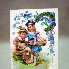 Postales: ANTIGUA TARJETA POSTAL, NIÑOS. AÑO NUEVO. BUEN AÑO. SELLO DE 5 CENTIMOS. FRANCIA. AUBE. Lote 37471763
