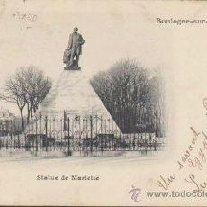 Postales: BOULOGNE-SUR-MER.- STATUE DE MARIETTE. FRANQUEADO EN BOULOGNE-SUR-MER EN 1902.. Lote 37166345