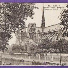 Postales: FRANCIA - PARIS - NOTRE DAME - CIRCULADA - AÑOS 10 / 20. Lote 37244941