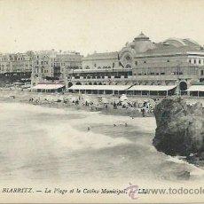 Postales: BIARRITZ LA PLAYA Y EL CASINO MUNICIPAL. Lote 39932352
