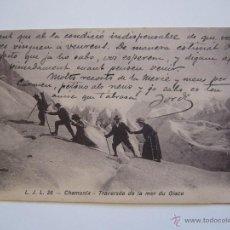 Postales: POSTAL L.J.L. 26. CHAMONIX. TRAVERSÉE DE LA MER DU GLACE. FRANCIA. CIRCULADA 1916.. Lote 39956361