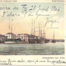 Postales: PS0526 ANCORADOURO - FIGUEIRA DA FOZ - EDIÇÀO PAPELARIA E TABACARIA LOBO - CIRCULADA EN 1906. Lote 41038823