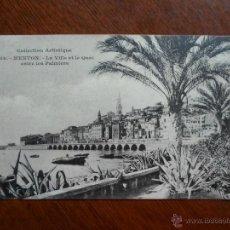 Postales: POSTAL - MENTON - LA VILLE ET LE QUAI ENTRE LES PALMIERS. Lote 42964180