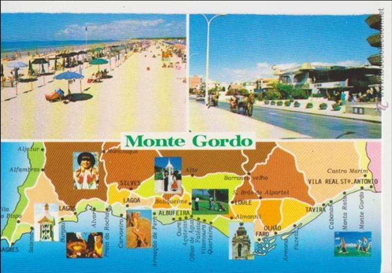 mapa monte gordo monte gordo (portugal) . mapa   Comprar Postales antiguas de  mapa monte gordo