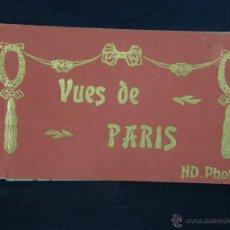 Postales: PARIS LIBRO ALBUM 20 FOTOS POSTALES PARÍS FRANCIA VUES DE PARIS ND PHOT 16 X 9 CM. Lote 43343899