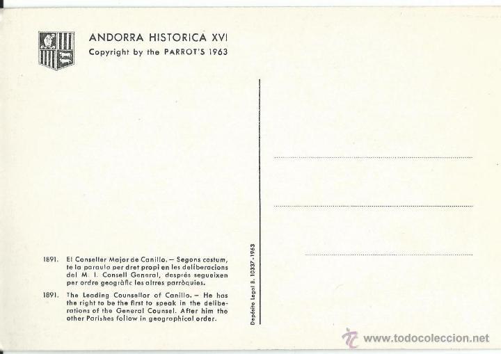 Postales: POSTAL DE VALLS DANDORRA HISTORICA Nº X V I DE 1963 SIN CIRCULAR - Foto 2 - 44047115