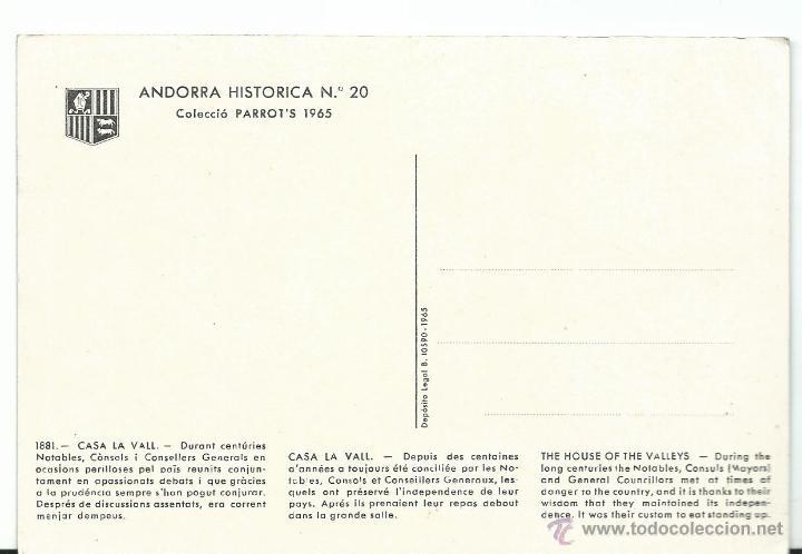 Postales: POSTAL DE VALLS DANDORRA HISTORICA Nº 20 DE 1965 SIN CIRCULAR - Foto 2 - 44047401