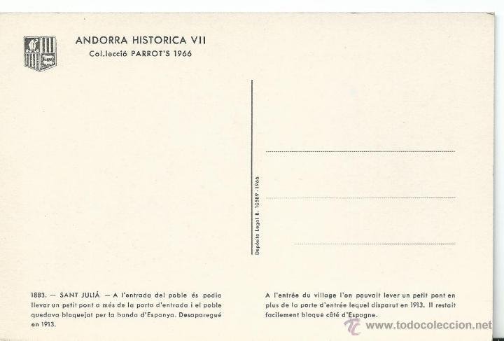 Postales: POSTAL DE VALLS DANDORRA HISTORICA Nº V II DE 1966 SIN CIRCULAR - Foto 2 - 44047494