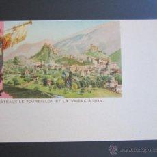 Postales: POSTAL SUIZA. CHATEAUX LE TOURBILLON ET LA VALÉRES Á SION. PRIMERA EDICIÓN. FINALES DEL S XIX.. Lote 44367332