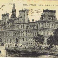 Postales: PS5029 PARÍS 'L'HOTEL DE VILLE ET LE PONT D'ARCOLE'. CIRCULADA EN 1914. Lote 45922325