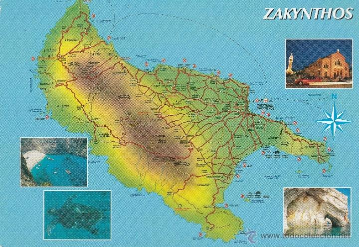 Nº 16960 Postal Grecia Mapa Zakynthos Sold Through Direct Sale