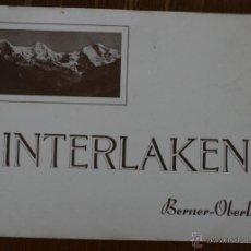 Postales: INTERLAKEN (SUIZA) POR BERNER-OBERLAND: ALBUM CON 32 ANTIGUAS LAMINAS FOTOGRAFIAS AÑOS 40. Lote 46529704