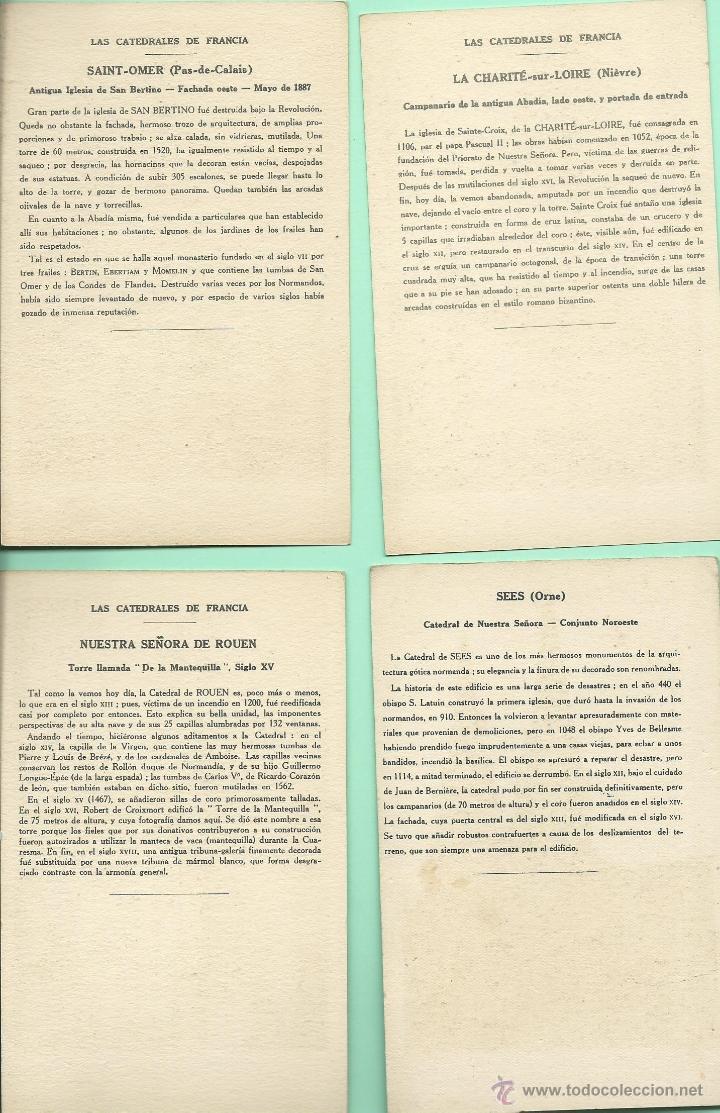 Postales: 11 POSTALES ANTIGUAS DE FRANCIA-CATEDRALES - COLECCION KOLARSINE DE LA SOLUCION PAUTAUBERGE AÑOS 20 - Foto 5 - 46978734