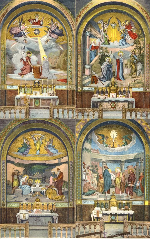 Postales: Antiguo album de 15 postales de Lourdes les Mosaiques du Rosaire de LL Paris - Foto 2 - 47374993