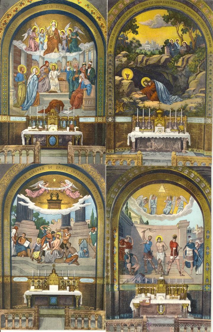 Postales: Antiguo album de 15 postales de Lourdes les Mosaiques du Rosaire de LL Paris - Foto 3 - 47374993