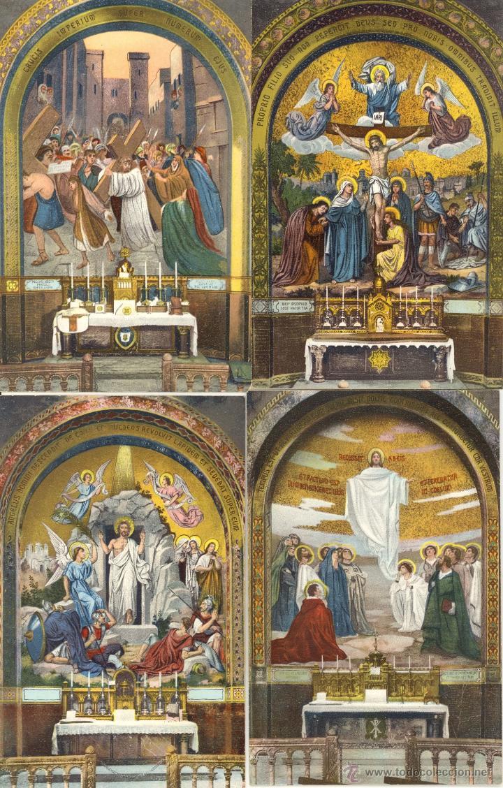Postales: Antiguo album de 15 postales de Lourdes les Mosaiques du Rosaire de LL Paris - Foto 4 - 47374993