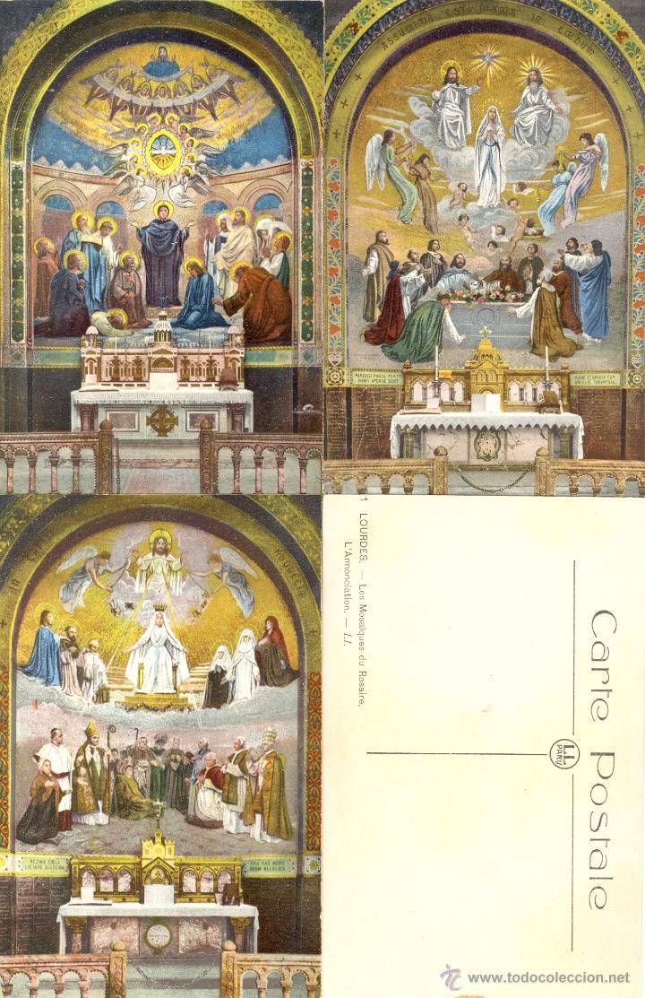 Postales: Antiguo album de 15 postales de Lourdes les Mosaiques du Rosaire de LL Paris - Foto 5 - 47374993