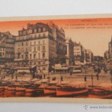 Postales: MARSEILLE: LA CANNEBIÈRE ET QUAI DES BELGES. Lote 48314216