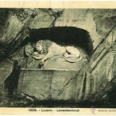 Postales: POSTAL LUCERNA (LUZERN) SUIZA, 1915 SIN CIRCULAR. LÖWENDENKMAL. Lote 49286361