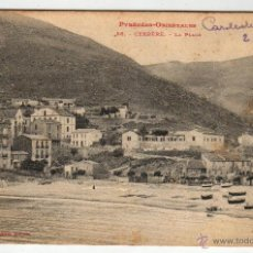 Postales: CERBÉRE. 1908 PYRÉNÉRS- ORIENTALES LA PLAGE CON SELLO. Lote 50982777