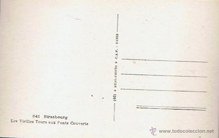 Postales: ANTIGUA POSTAL ¨LES VIEILLES TOURS AUX PONTS COUVERTS¨ STRASBOURG - Foto 2 - 51073181
