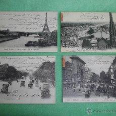 Postales: RARO LOTE ANTIGUA POSTAL PARIS SAINT-DENIS NOTRE-DAMME CAMPS-ELYSEES COCHES CARRUAJES CIRCULADAS. Lote 51100170