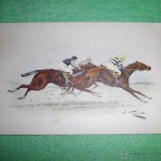 Postales: ANTIGUA BUSCADA POSTAL CARRERA CABALLOS M M. VIENNE M. MUNK Nº 462 CIRCA 1908 COLOREADA JOCKEY. Lote 51192016