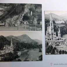 Postales: ANTIGUAS TRES POSTALES DE LOURDES FOTOGRAFIA DE EDLUX. Lote 52137644