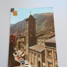 Postales: POSTAL VALLS D' ANDORRA. AVENIDA DE CARLOMAGNO E IGLESIA. TDKP6. Lote 52674092
