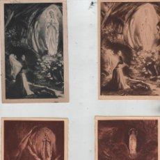 Postales: POSTALES-LOTE DE 4 POSTALES DE LA APARICIÓN DE LA VIRGEN DE LOURDES. Lote 53158493